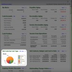 Screenshot of Sage 100 Contractor dashboard featuring the Job Costs report by cost type.